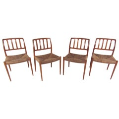 N.O. Møller Teak and Rush Seat Dining Chairs