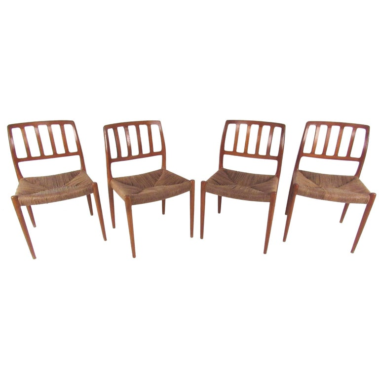 N.O. Møller Teak and Rush Seat Dining Chairs For Sale
