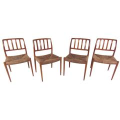 Set of N.O. Møller Teak and Rush Seat Dining Chairs
