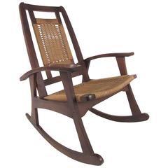 Mid-Century Rope Seat Rocking Chair