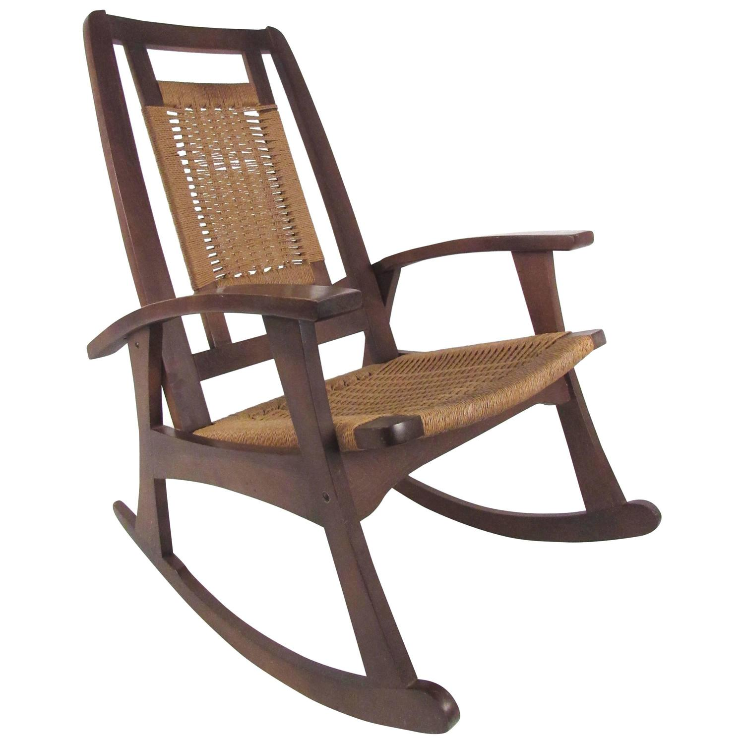 Mid Century Rush Seat Rocking Chair For Sale at 1stdibs