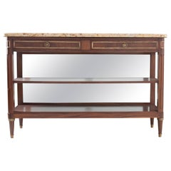 French 19th Century Mahogany Console Dessert with Marble Top