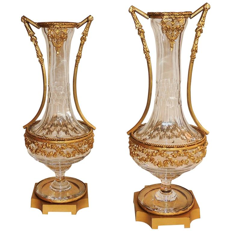 wonderful pair french ormolu dor bronze mounted crystal vases glass gilt urns at 1stdibs. Black Bedroom Furniture Sets. Home Design Ideas