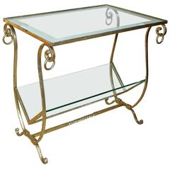 Gilt Metal Combination Side Table Magazine Rack