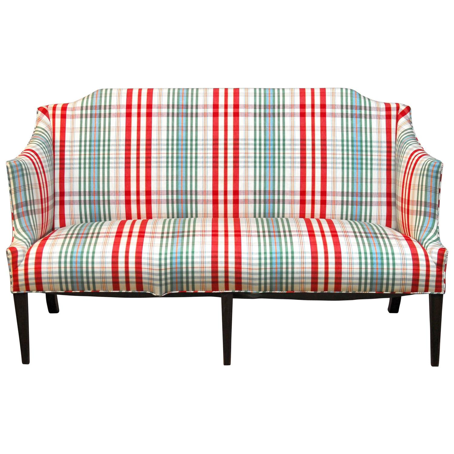 Modern sheraton style plaid settee sofa at 1stdibs - Plaid para sofa ...