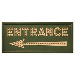 "1930s Double Sided Reflective Marbles ""Entrance"" Sign"