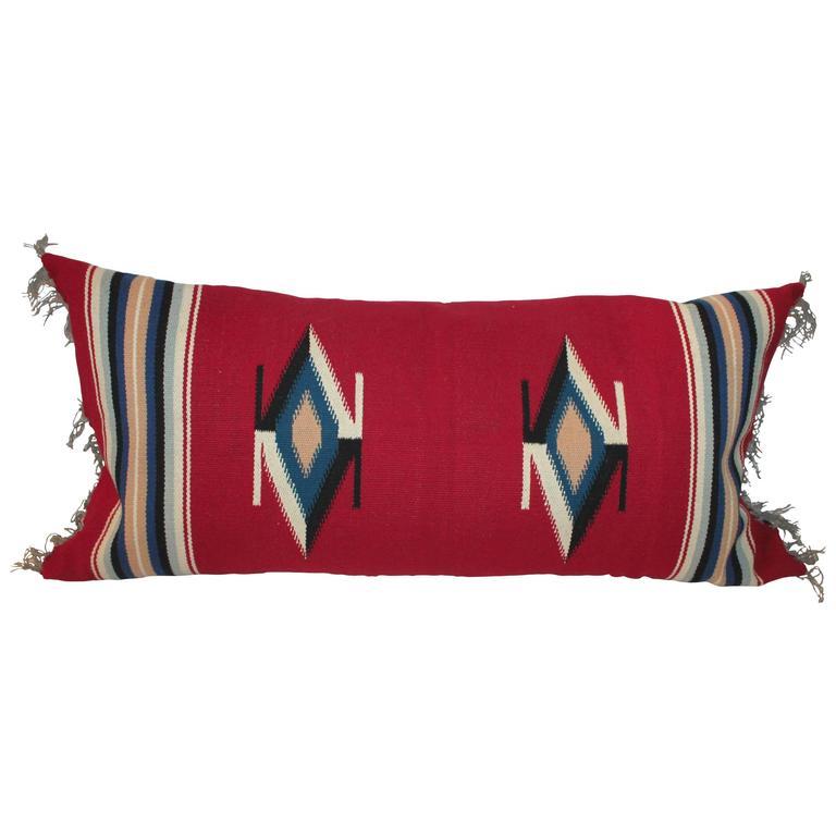 Mexican Indian Handwoven Serape Bolster Pillow