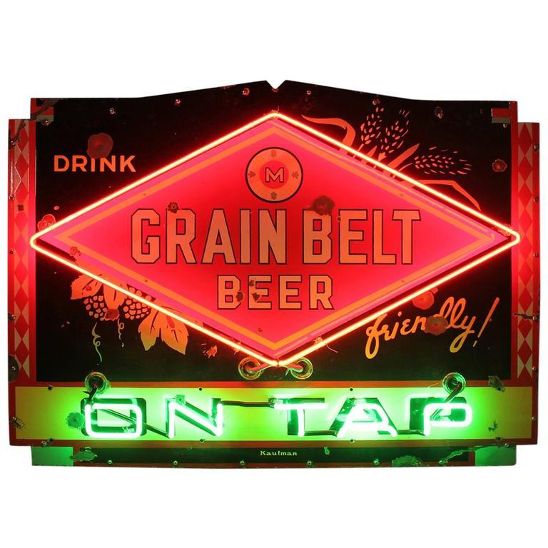 "1950s Porcelain Neon Sign ""Drink Grain Belt Beer on Tap"""