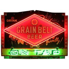 "1950s Porcelain Neon Sign ""Drink Grain Belt Beer on Tap"""