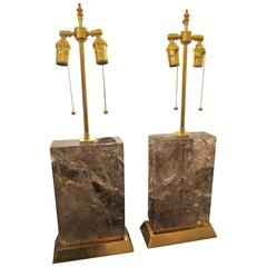 Pair of  Custom Sculptural Rock-Crystal Lamps on Giltwood Base