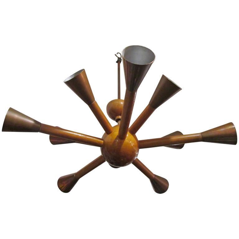 Unusual Wood and Copper Sputnik Chandelier with Ten Arms 1