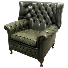 Green Tufted Leather Wingback Chair