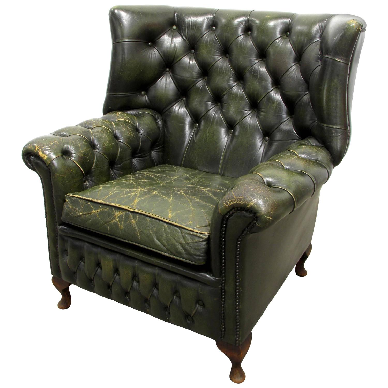 Green tufted leather wingback chair for sale at 1stdibs for Leather wingback recliner sale