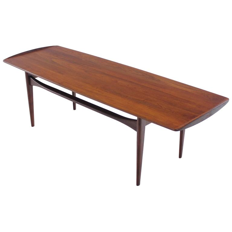 Danish Modern Solid Teak Coffee Table By Tove And Edvard Kindt Larsen At 1stdibs