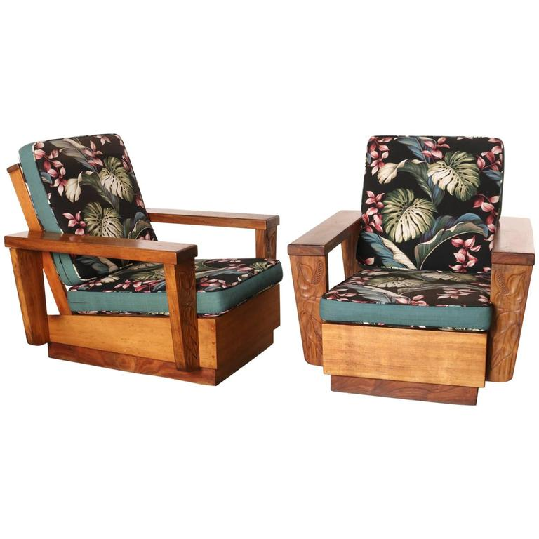 Pair Of 1940s Hawaiian Koa Wood Club Chair At 1stdibs