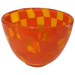 Barovier and Toso Amber Glass Bowl with Orange Patchwork