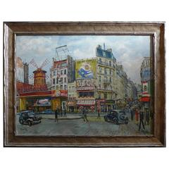 "Oil on Canvas Called ""La Place Blanche"" in Paris by Alice Bailly, circa 1925"