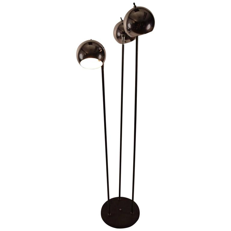 Chrome Ball Adjustable Floor Lamp With Black Base And