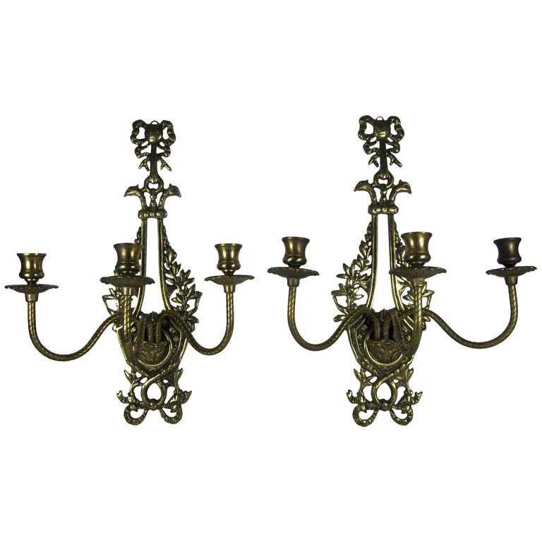 Pair of Vintage French Dore Brass Candle Wall Sconces at 1stdibs