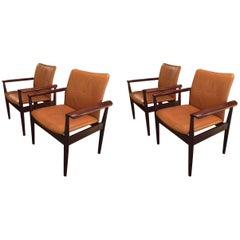 Four Finn Juhl  Dipolmatic Leather Chairs
