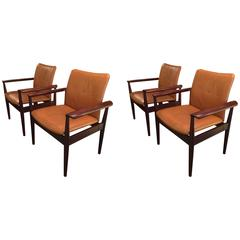 Four Finn Juhl  Dipolmatic Leather Chairs