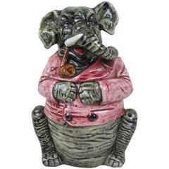 19th Century Majolica Elephant Figural Tobacco Lidded Humidor Jar