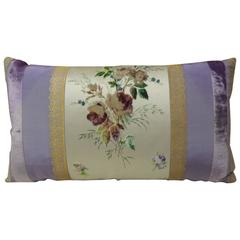 18th Century French Pastel Lavender Silk Bolster Decorative Pillow