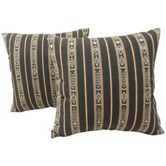 Pair of Vintage Woven Black and Yellow Stripe Ikat Decorative Pillows