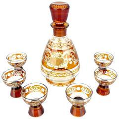 Art Deco Modernist Bohemian  Glas Decanter Glass Set 30s Floral Art Nouveau