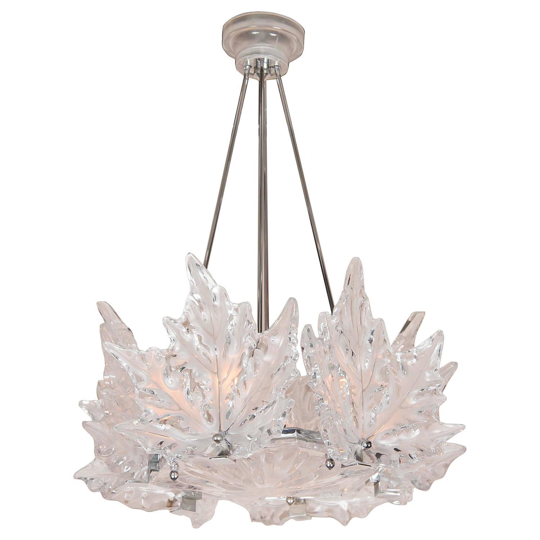 Lalique Orgue Crystal Chandelier For Sale at 1stdibs