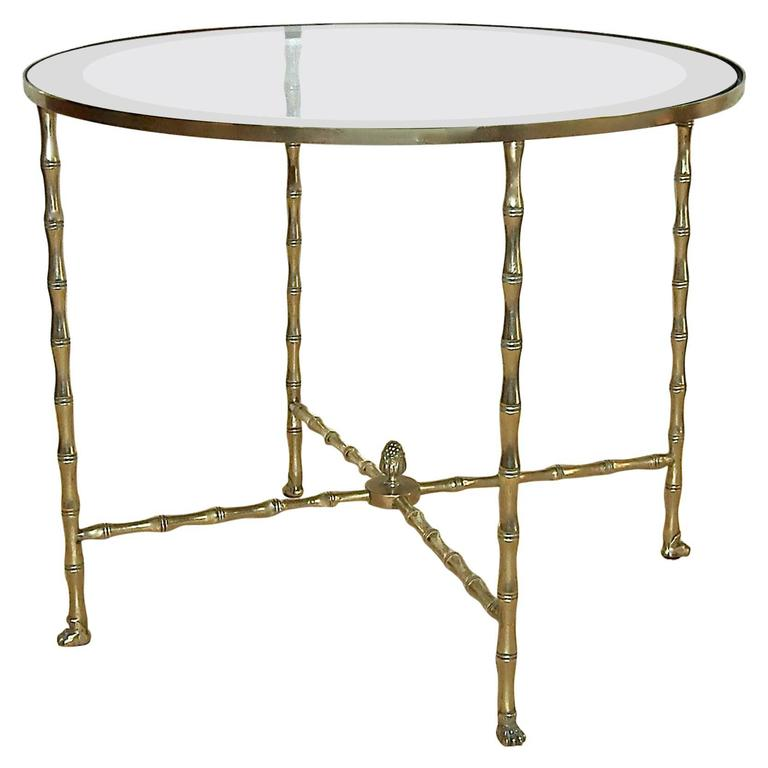 Bagues french bronze faux bamboo round side table for sale for Bamboo side table