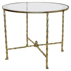 Bagues French Bronze Faux Bamboo Round Side Table