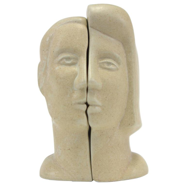 Peter Wright Interlocking Male, Female Busts Sculpture For Sale