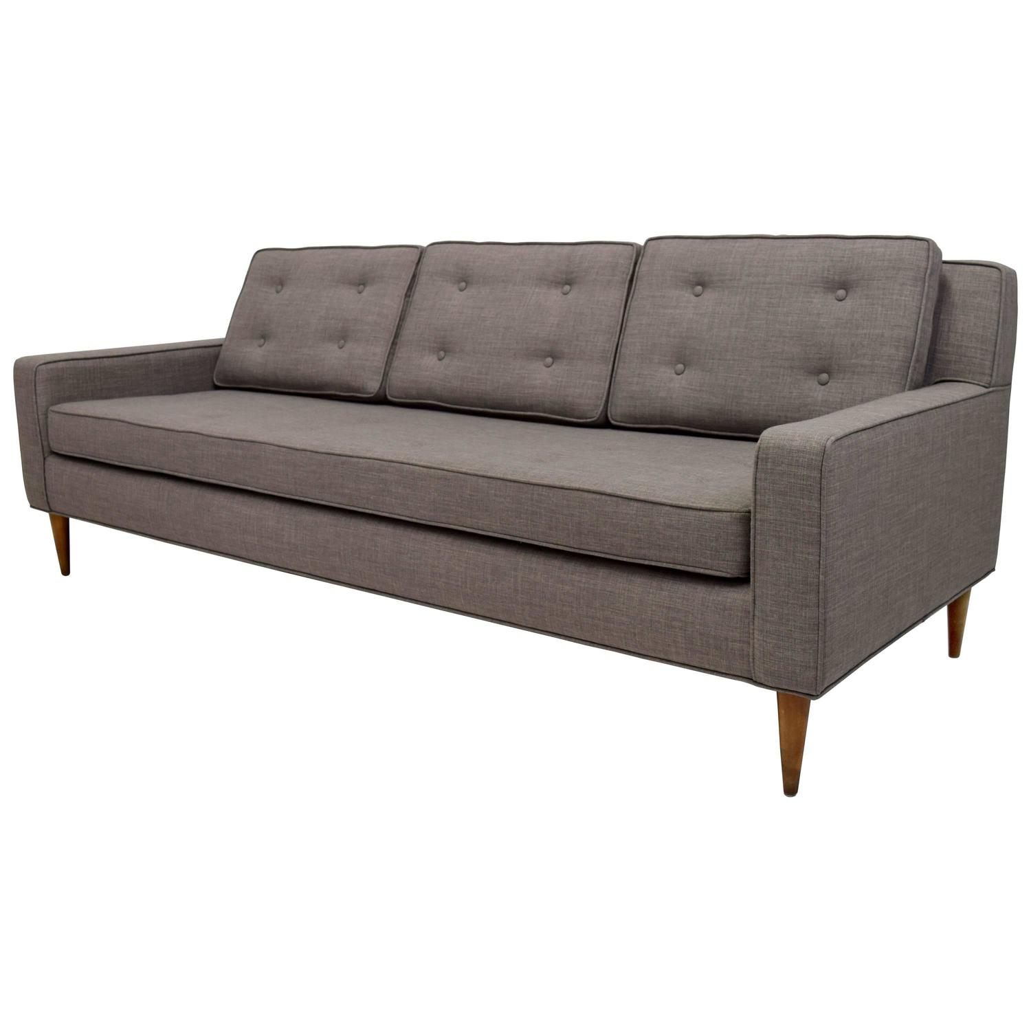 mid century button tufted sofa in paul mccobb style for