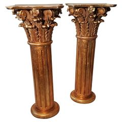 Large Matched Pair of Carved Wood Corinthian Column Pedistals, Gilded, Italy