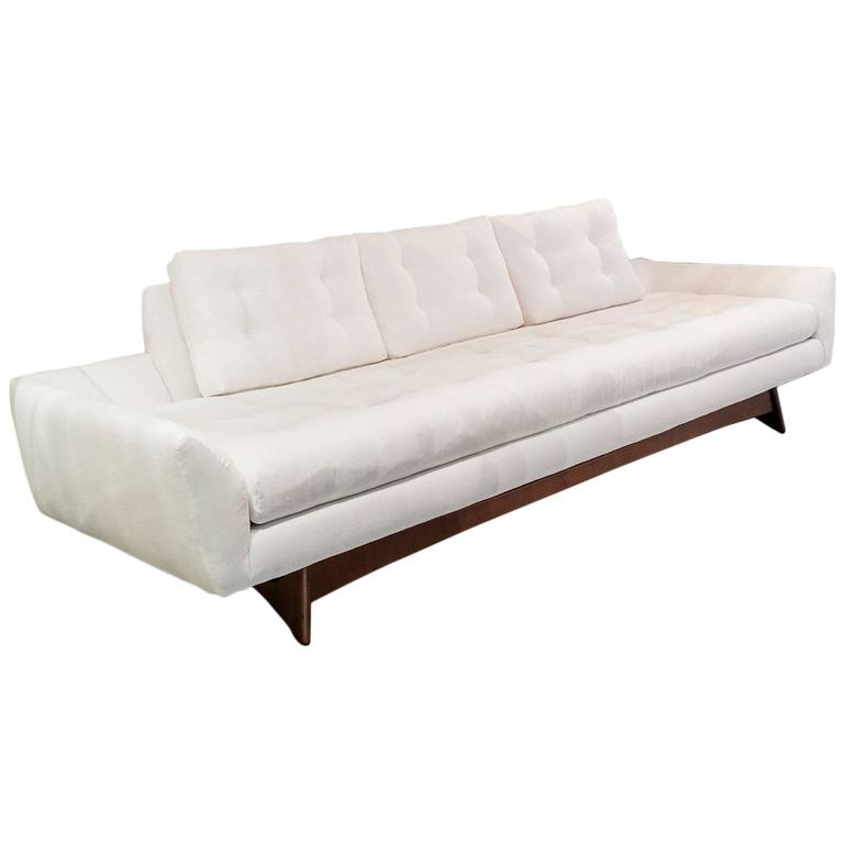 Adrian pearsall white linen sofa at 1stdibs for White linen sectional sofa