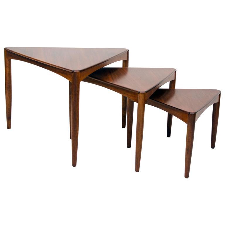 Captivating Set Of Three Mid Century Walnut Triangular Nesting Tables 1
