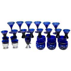 Collection of Art Deco Cobalt Blue Cocktail or Bar Glassware