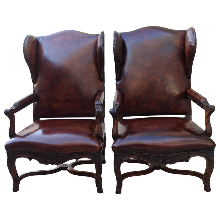 pair of french regence style leather wingback armchairs for sale at