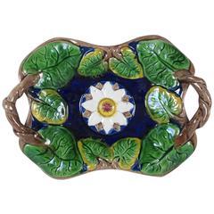 19th Century Majolica Vine Handled and Leaf Serving Platter