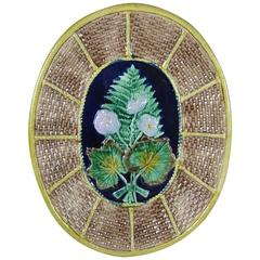 19th Century Majolica Fern and Floral, Wicker Basket Form Cheese Board Platter