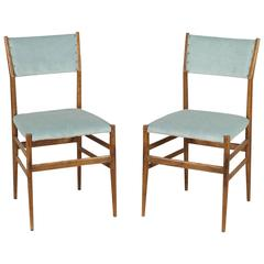Two '646 Leggera' Chairs by Gio Ponti for Cassina Ash Foam Fabric, Italy, 1950s