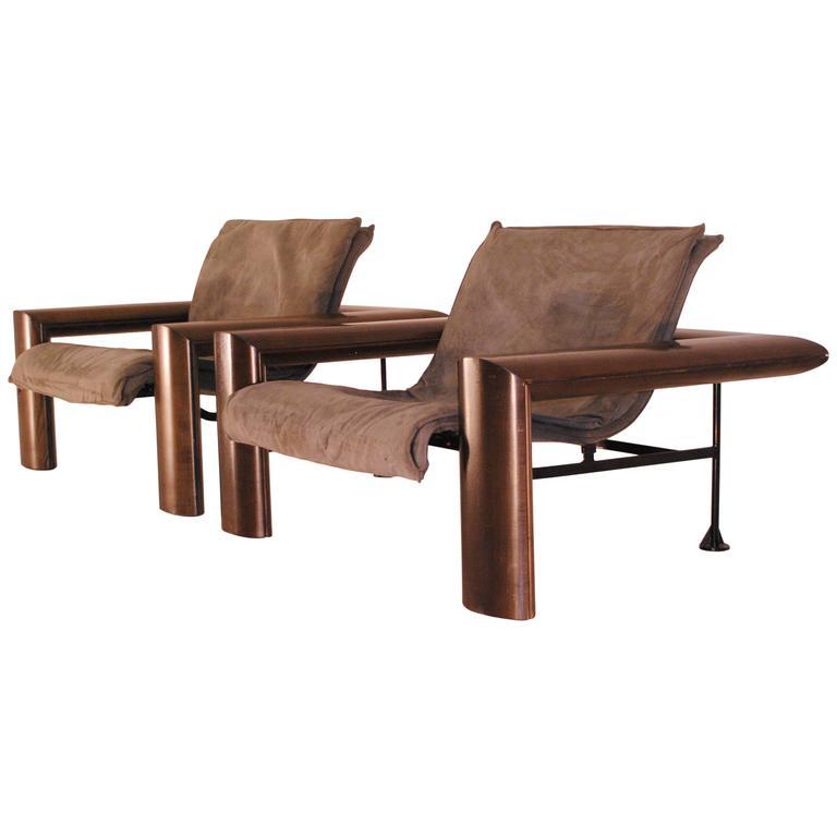 1980s Furniture rare pair of armchairsjean-louis berthet for berthet-pochy
