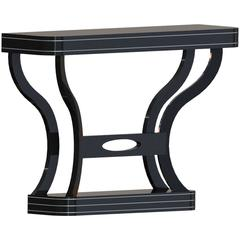 Curved Art Deco Console in High Gloss Black