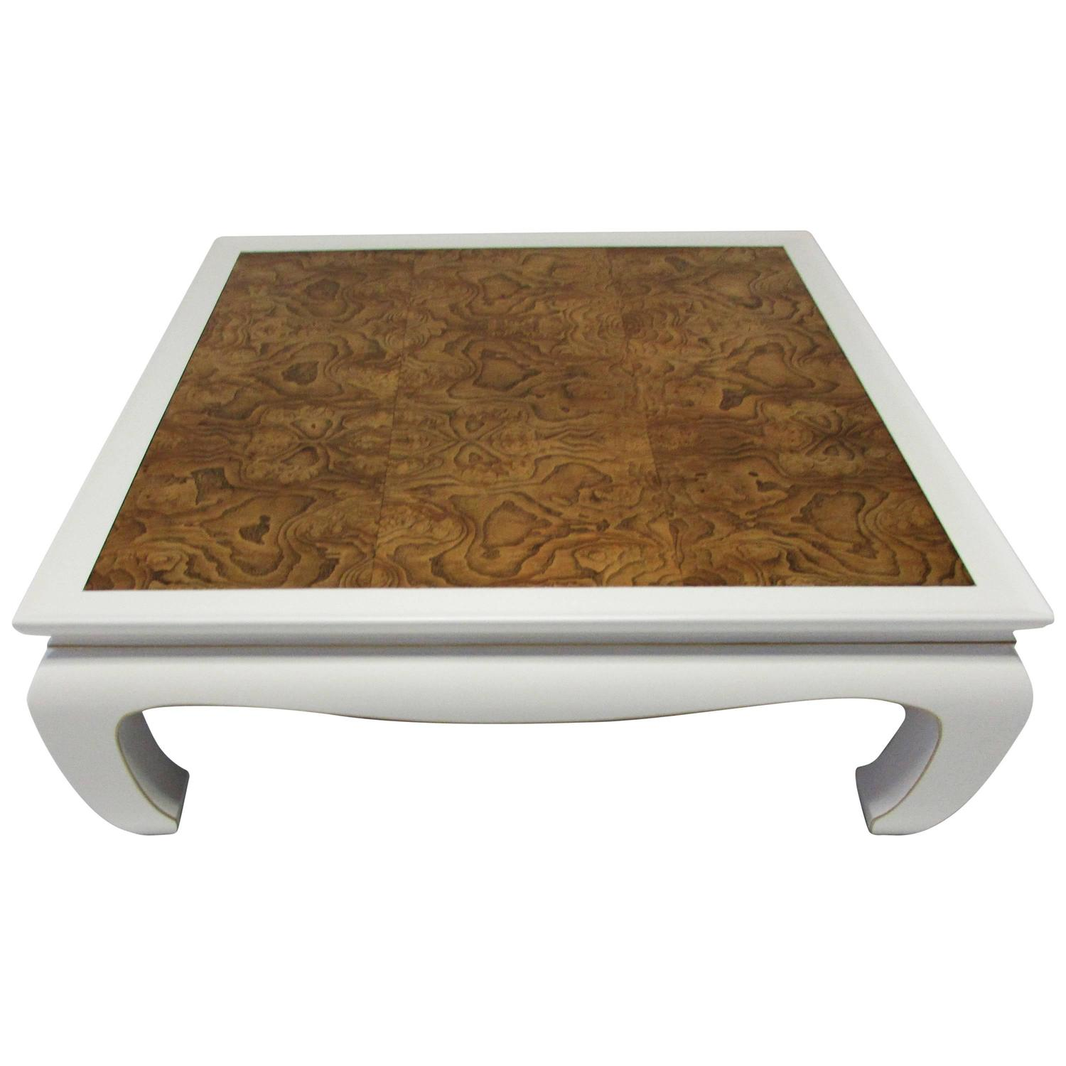 Ming Style Lacquer and Burl Wood Coffee Table at 1stdibs