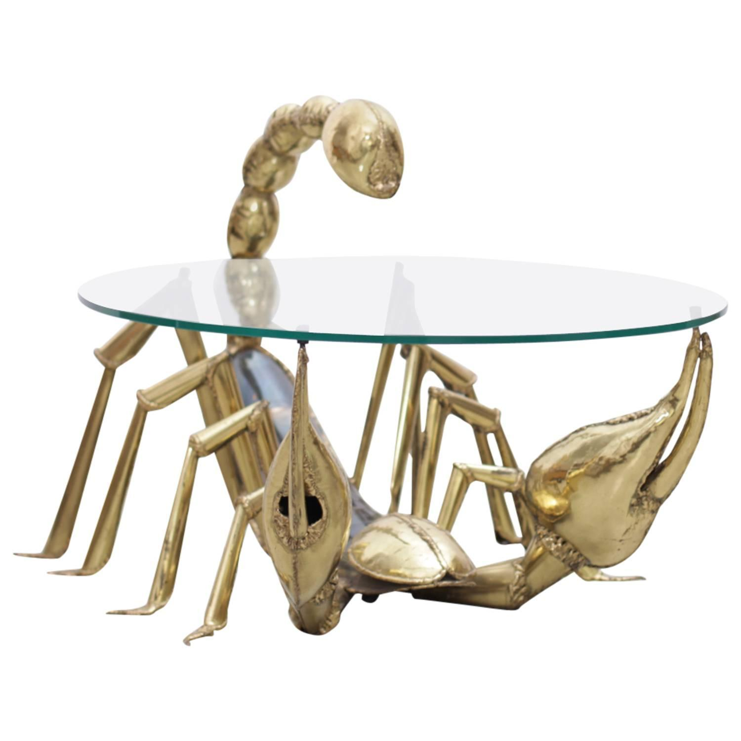 Rare Illuminated Brass Scorpion Coffee Table By Jacques