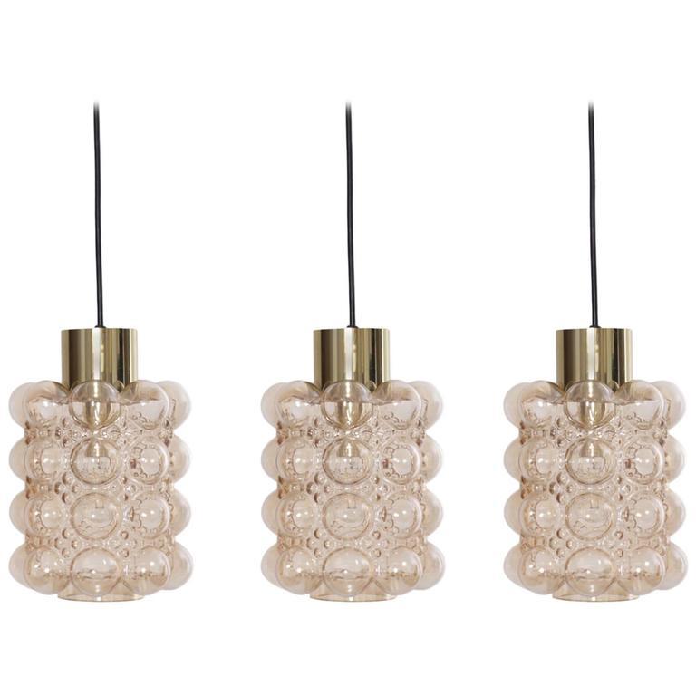1 of 3 Bubble Glass Pendant Lights by Helena Tynell for GlashüTte Limburg