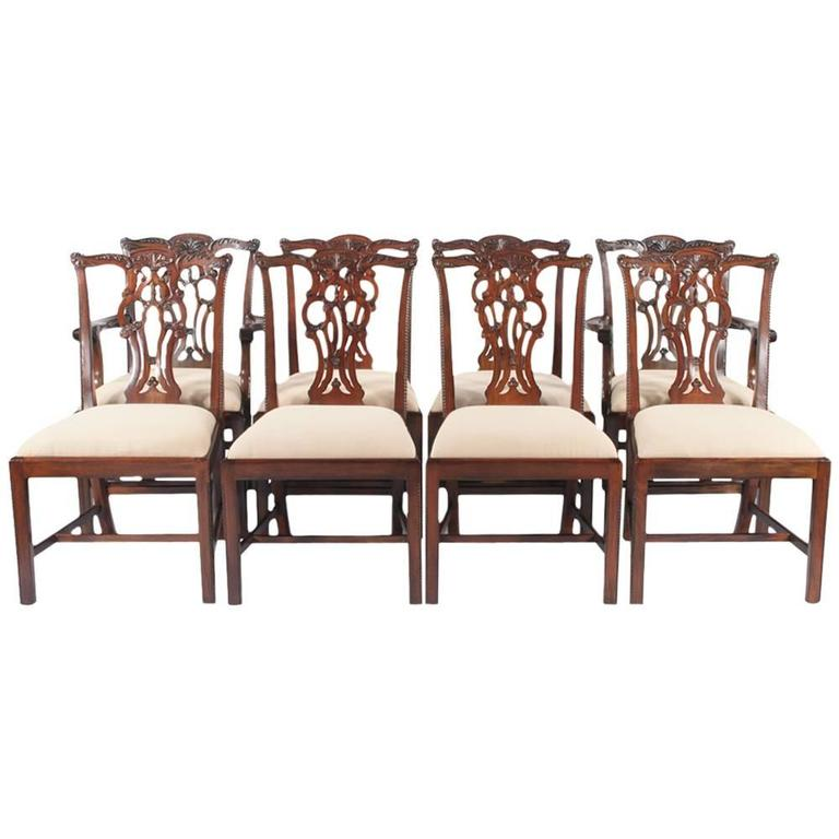 chippendale mahogany dining chairs set of eight at 1stdibs