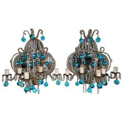 French Micro Beaded Mirror Aqua Blue Murano Drops Sconces