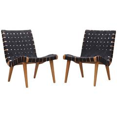 Pair of Matched Jens Risom Lounge Chairs in Black Webbing for Knoll